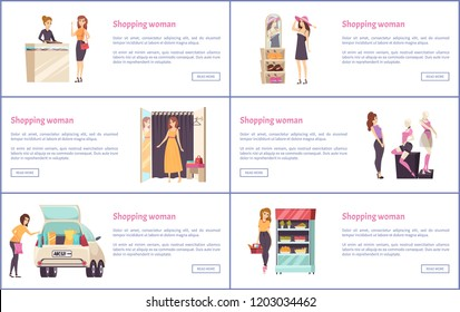 Shopping shops, stores with luxury clothes vector. Brand hats and dress, jewelry department and cosmetics stand. Fashion and beauty products for women