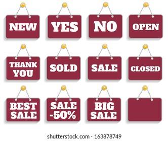 Shopping sign board set