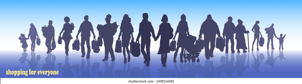 shopping, silhouettes of people with packages and bags set