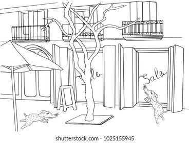 Shopping sketch. Sale in store illustration. Hand drawn vector cartoon street drawing