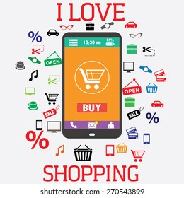 Shopping with smartphone. Shopping icons. Electronic commerce. vector