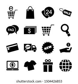shopping solid icons vector design