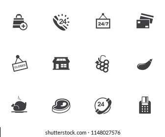 shopping store building - vector store front illustration, supermarket icon