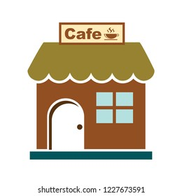 shopping store building - vector store front illustration, cafe icon