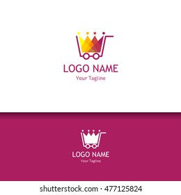 Shopping store lowercase flat logo design template