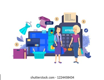 Shopping in store, supermarket, mall. Young girls make purchases in shop. Shopping through app, calculation of non-cash credit card, payment through pos terminal, online store. Vector illustration.