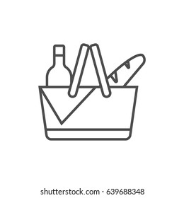Shopping supermarket basket with products. Picnic basket outline icon.