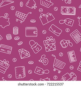 Shopping symbols seamless pattern. Tiling textures with thin line icon set
