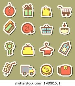Shopping tags icons set