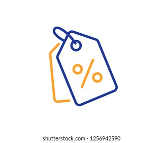 Shopping tags line icon. Special offer sign. Discount coupons symbol. Colorful outline concept. Blue and orange thin line color icon. Discount tags Vector