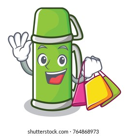 Shopping thermos character cartoon style