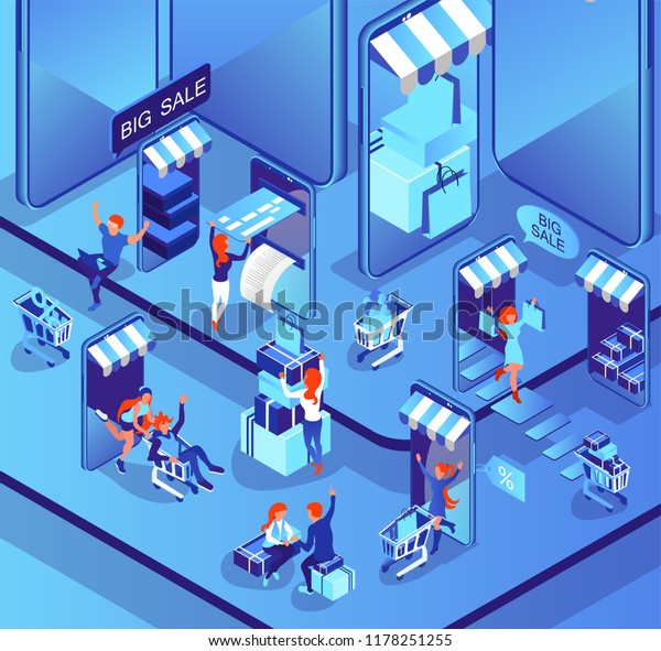Shopping through the Internet. The concept of easy shopping. Payment by card. Purchase via smartphone in the online store. Isometric 3d