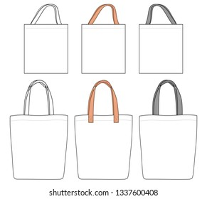 Shopping Tote Bags with different handles, vector illustration flat sketch template