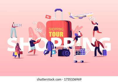 Shopping Tour Concept. Buyers Characters Seasonal Sale. Cheerful Shopaholic People with Trolley Full of Purchases and Gifts. Happy People with Packages Poster Banner Flyer Cartoon Vector Illustration