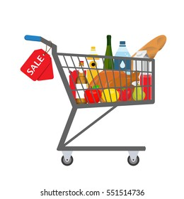Shopping trolley full of food, products and goods with sale tag. Vector illustration