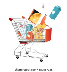 Shopping trolley with purchases isolated on white. Cart with diary products, pizza in paper box and bottles with cleaning substances. Buying necessary things in supermarket vector illustration