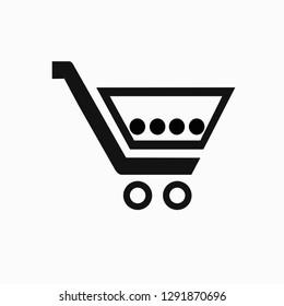 Shopping trolley. Vector icon.