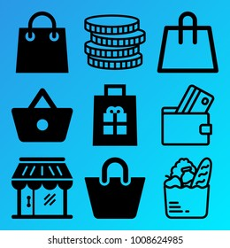Shopping vector icon set consisting of 9 icons about shopping bag, shop, debit card, bag, money, grocery, shopping basket, basket, gift and coins