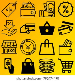 Shopping vector icon set consisting of 16 icons about cash, tag, payment, shop, shopping bag, money, yen, shopping basket, dollar and coin