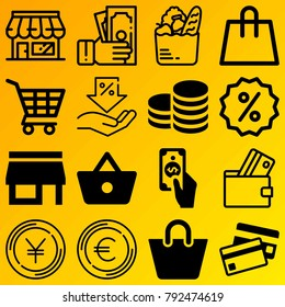 Shopping vector icon set consisting of 16 icons about basket, credit card, money, store, discount, shopping bag, coin, shopping cart, currency and dollar