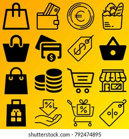 Shopping vector icon set consisting of 16 icons about credit card, payment, euro, coins, wallet, shopping basket, shopping bag, grocery, currency and shopping cart