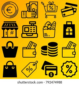 Shopping vector icon set consisting of 16 icons about debit card, shopping basket, gift, store, cash register, payment, coins, basket, cash and coin