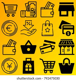 Shopping vector icon set consisting of 16 icons about euro, cash, credit card, basket, gift, payment, yen, discount, shopping bag and shop