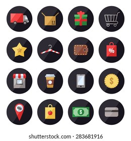 Shopping vector icon set. Modern flat design.