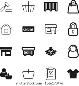 shopping vector icon set such as: measure, tshirt, hand, delivery, technology, house, home, icons, merchandise, system, front, weighing, bag, grip, super, telephone, cart, help, man, storage, label