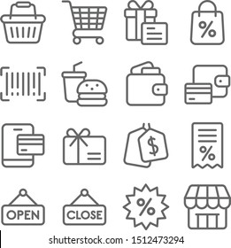 Shopping Vector Line Icon Set. Contains such Icons as Wallet, Basket, Cart, Barcode, Bill and more. Expanded Stroke