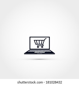 Shopping via computer -icon