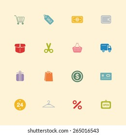 Shopping vintage color icons