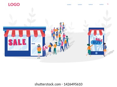 Shopping VS mobile shopping. Big queue Outside a Mall Having a Sale, Hot Summer Big Sale. vector illustration for web, print, social media, presentation. e-commerce, marketing. online offline store.