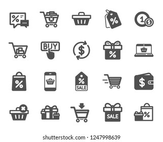 Shopping wallet icons. Gift, Present and Sale offer signs. Shopping cart, Delivery gift and Tags symbols. Speech bubble, Discount, sale and wallet. Online buying. Surprise present. Vector