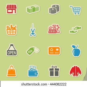 shopping web icons for user interface design
