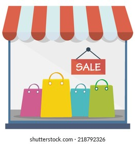 shopping window with sale sign and bags - flat design vector