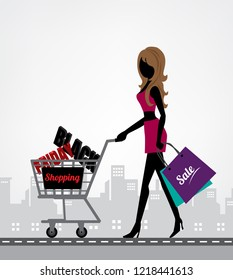 Shopping woman black friday sale. Copy space