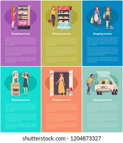 Shopping women in changing room of stores trying brand clothes vector. Trends in hats and cosmetics, makeup products in stand. Grocery food purchases