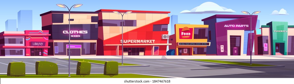 Shops and commercial buildings exterior on city street. Vector cartoon summer town with cafe, library, pharmacy and supermarket facade. Modern architecture of auto parts store and boutique