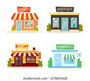 Shops facades flat illustrations set. Family bakery, grocery store exterior. Clothes fashion boutique isolated clipart. Pharmacy, drugstore building design element. Shopping, commerce, trade