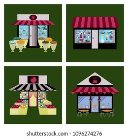 Shops and stores icons set in flat design