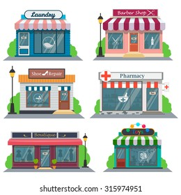 Shops and stores icons set in flat design style.Laundry, barber shop, shoe repair, pharmacy, a boutique, a toy store.Vector illustration
