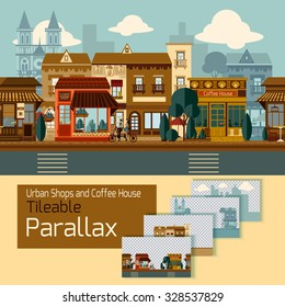 Shops tileable parallax with buildings on different layers vector illustration