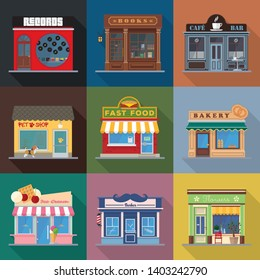 Shops and venues store fronts flat design long shadow vector illustration