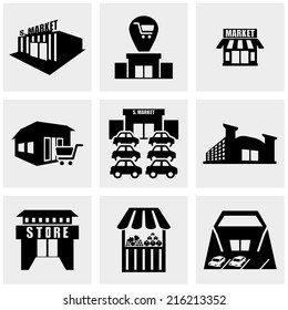 Shop,supermarket  vector icons set on gray