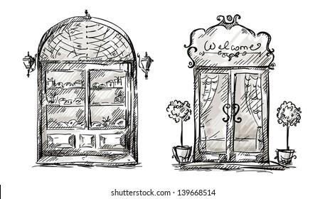 Shop-window and entrance door drawing, retro style