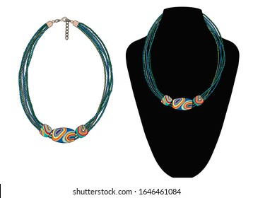 A short beaded necklace with three large beads. Boho style. Vector