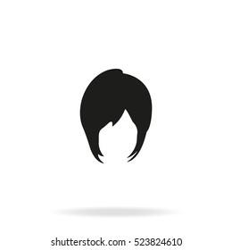 Short Bob cut hair silhouette. Woman hairstyle icon.
