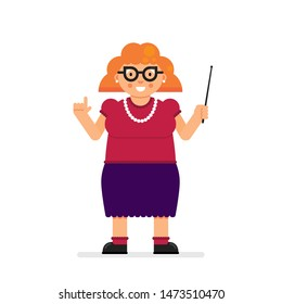 Short chubby cheerful female teacher character standing with pointer stick in hand. Flat vector illustration.