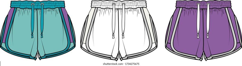 SHORT, Fashion Flat Sketch, apparel template